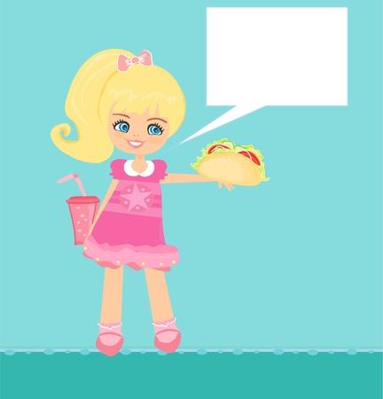 cute little girl eating sandwich Stock Vector - 11994272