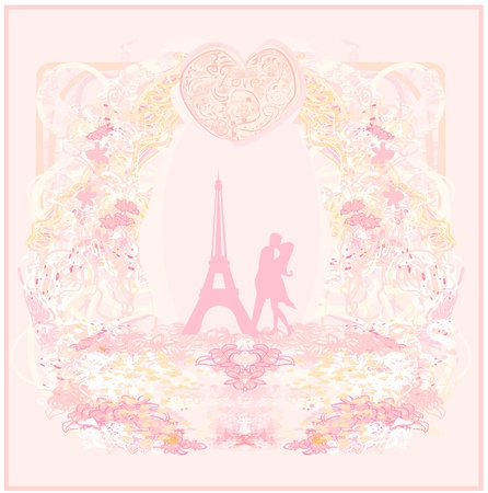 Romantic couple in Paris kissing near the Eiffel Tower. Retro card. Stock Vector - 11996005