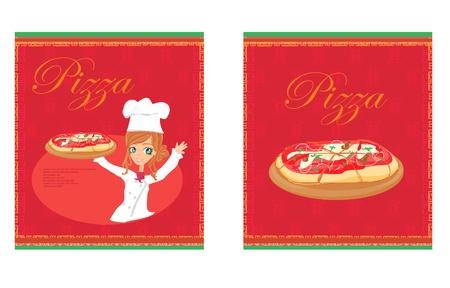 preparing food: beautiful woman enjoys pizza