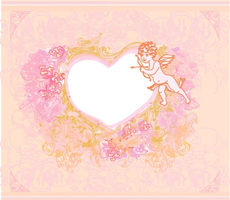 happy valentines day card with cupid Stock Vector - 11995998