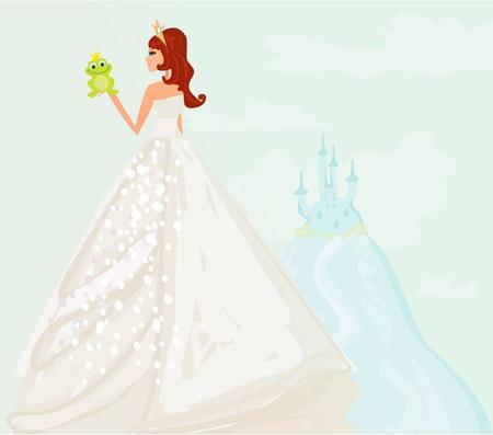 princess frog: Hermosa princesa joven que sostiene una rana verde grande
