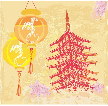 old paper with Asian Landscape and Chinese Lanterns - vintage japanese style background  Stock Vector - 12009138