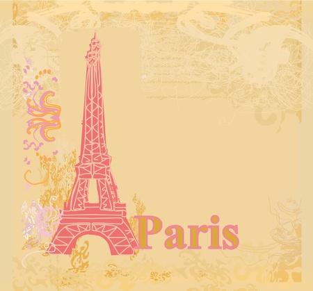 paris vintage: vintage, retro Eiffel tarjeta