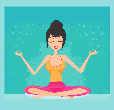 Yoga girl in lotus position Stock Vector - 12009141