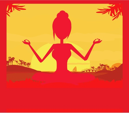 Silhouette of a Girl in Yoga pose on Summer background with palm tree Stock Vector - 12009129