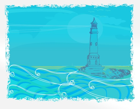 lighthouse seen from a tiny beach - Grunge Poster Stock Vector - 12009143