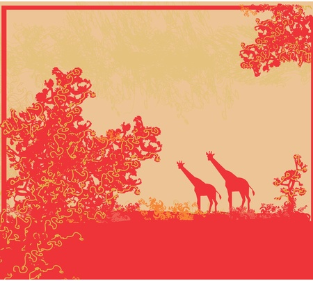 grunge background with African fauna and flora  Illustration