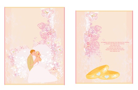 elegant wedding invitation with rings and wedding couple  Vector