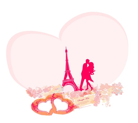 Romantic couple in Paris kissing near the Eiffel Tower. Retro card.  Stock Vector - 12024422