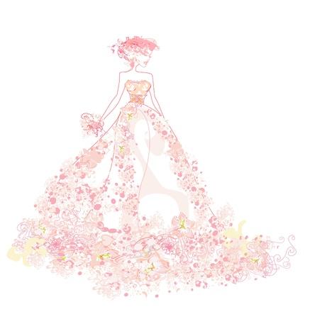 evening: Beautiful bride card  Illustration