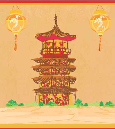 old paper with Asian Landscape and Chinese Lanterns - vintage japanese style background Stock Vector - 12024418