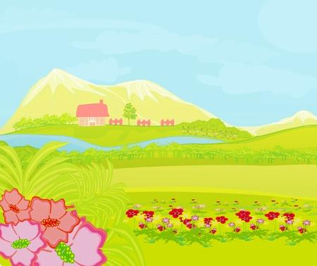 non urban scene: Spring landscape. Illustration  Illustration