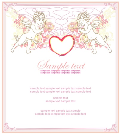 happy valentines day card with cupid Stock Vector - 12162229