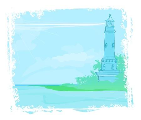 lighthouse seen from a tiny beach Stock Vector - 12162233