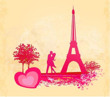 Romantic couple in Paris kissing near the Eiffel Tower. Retro card.  Vector