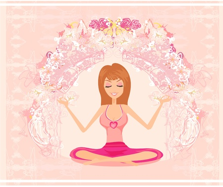 Yoga girl in lotus position Stock Vector - 12162240