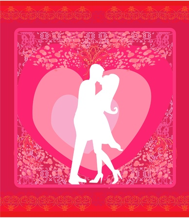 Floral greeting card with silhouette of romantic couple Stock Vector - 12162270