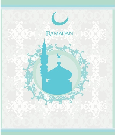 Ramadan background - mosque silhouette card.  Vector