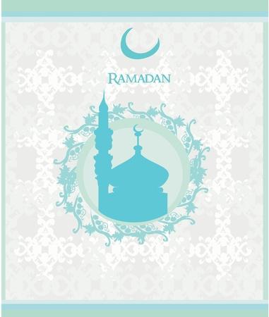 Ramadan background - mosque silhouette card.  Illustration