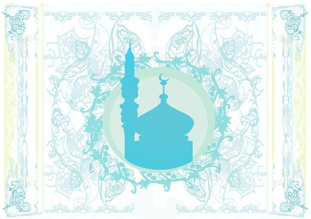 Ramadan background - mosque silhouette. Vector