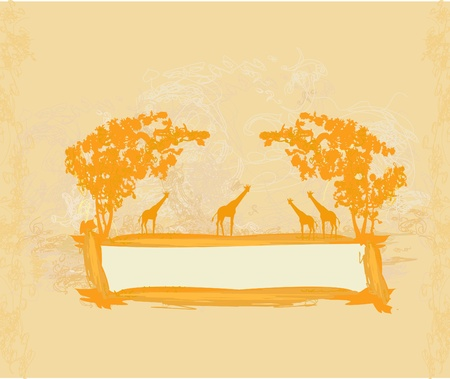 grunge background with African fauna and flora Stock Vector - 12162272