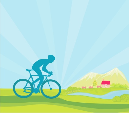 Cycling Grunge Poster Template. Illustration