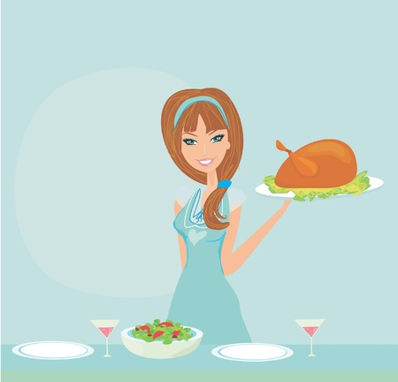Beautiful lady serving a chicken  Vector