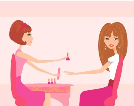Junge Dame tut Maniküre im Beauty-Salon Vektorgrafik