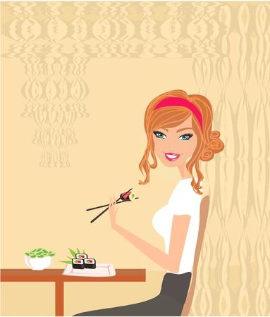beautiful  girl enjoy sushi Stock Vector - 12162294