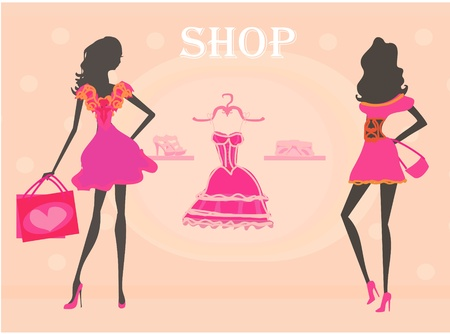 fashion silhouettes girls Shopping  Illustration