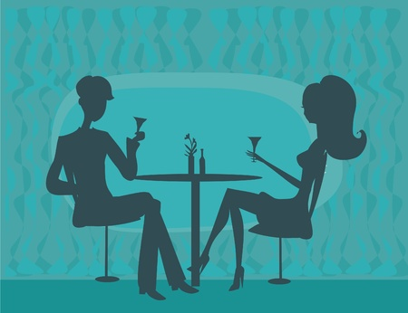 couple date: Young couple flirt and drink champagne             Illustration