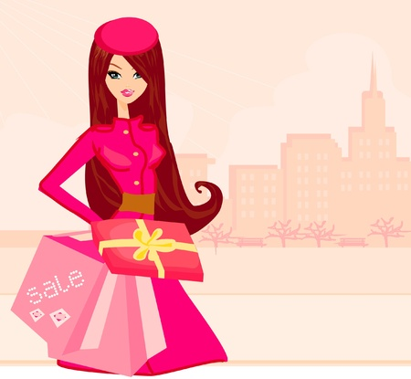 winter fashion: fashion shopping girl with shopping bags and gift box Illustration