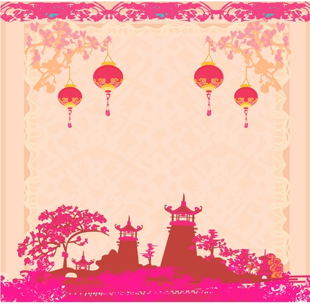 chinese lantern: old paper with Asian Landscape and Chinese Lanterns - vintage japanese style background  Illustration
