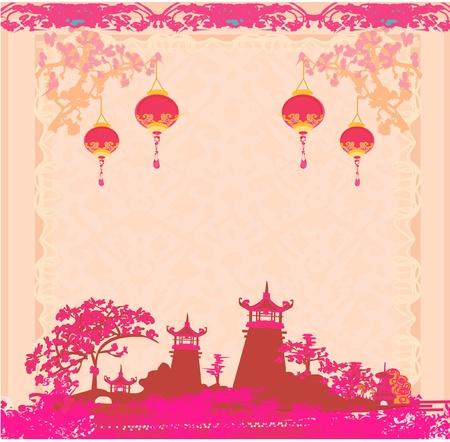 sky lantern: vieux papier avec le paysage asiatique et lanternes chinoises - vintage de fond style japonais