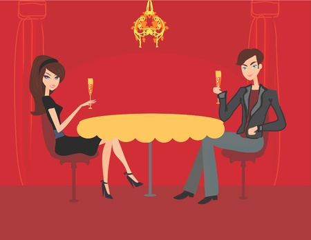 Young couple flirt and drink champagne Stock Vector - 12162322