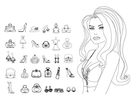 Fashion shopping icon doodle set  Vector