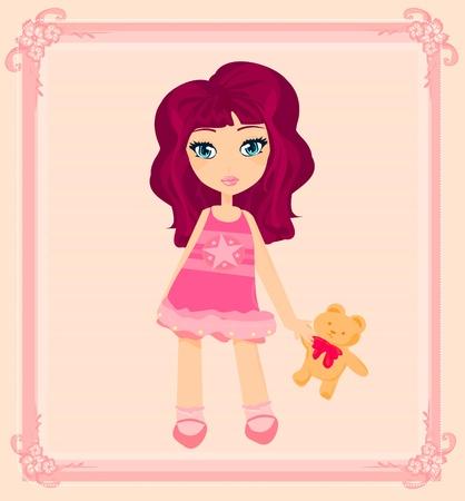 hair mask: Cute little girl is hugging Teddy bear