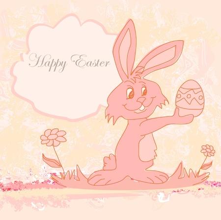 kiddish: Illustration of happy Easter bunny carrying egg Illustration