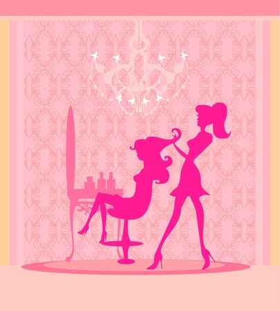 illustration of the beautiful woman in hairdressing salon . Illustration