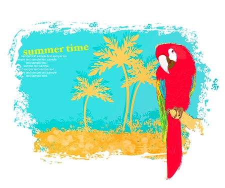Colourful parrot bird sitting on the perch on the beach Vector