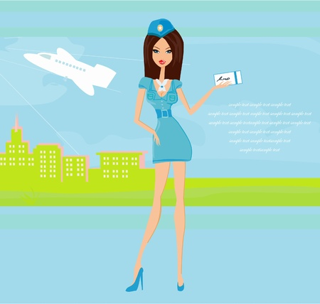 Beautiful stewardess with ticket Vector