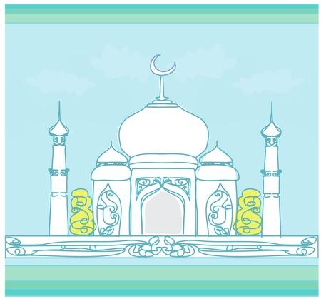 masjid: Ramadan background - mosque silhouette card