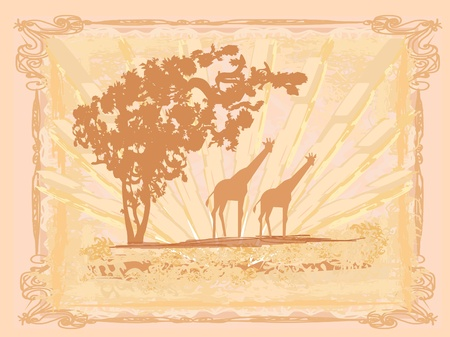 grunge background with African fauna and flora Stock Vector - 12162385