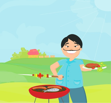 man cooking on his barbecue.  Vector