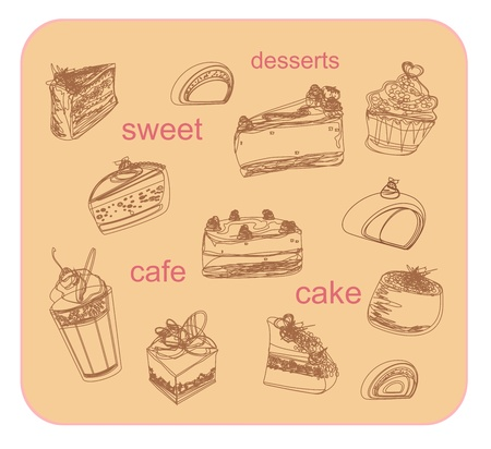 sweet dessert coffee doodle background               Vector