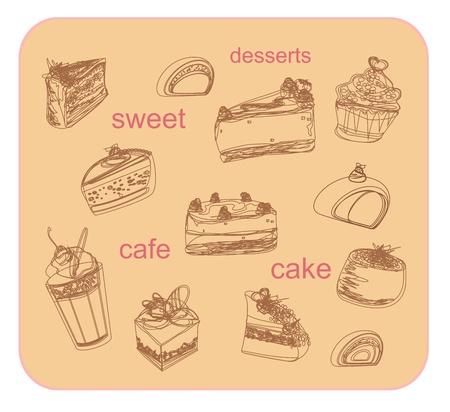 sweet dessert coffee doodle background               Vector