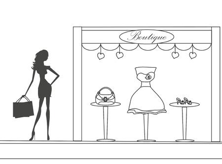fashion girl Shopping doodle illustration  Illustration