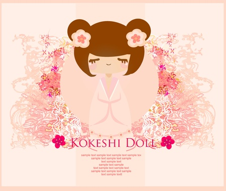 Kokeshi doll on the pink background with floral ornament  Stock Vector - 12162387