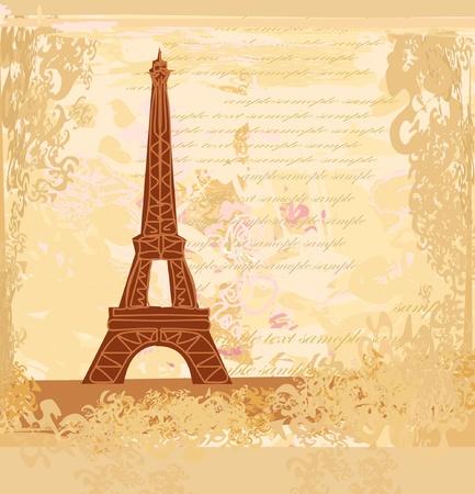 vintage paris: vintage retro Eiffel card