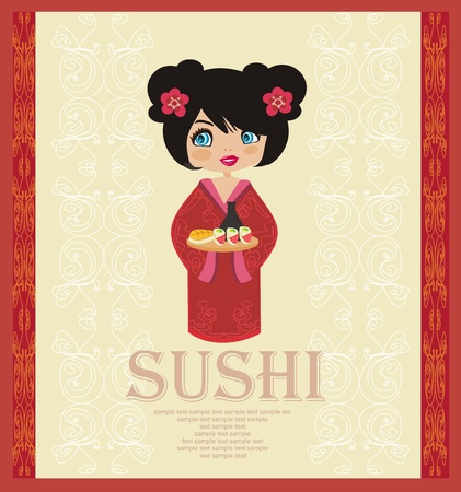 sushi: mooi Aziatisch meisje genieten van sushi - menusjabloon